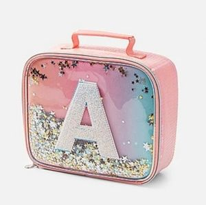 New Justice ombre shaky Initial A lunchbox